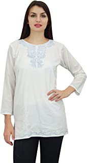 Phagun Women's Casual Embroidered Long Sleeve Tops Shirt Tunic Blouse