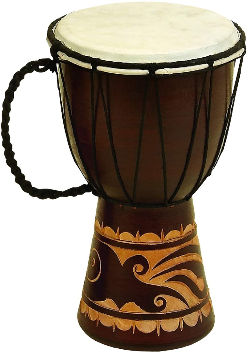 Benzara Decorative Wood Indefinitely and Faux Leather Side Drum Djembe Max 71% OFF with H