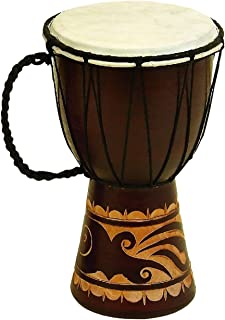 Benzara Decorative Wood and Faux Leather Djembe Drum with Side Handle, Small, Brown and Cream,