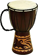 Benzara, Brown Decorative Wood and Faux Leather Djembe Drum with Side Handle, Small, Cream