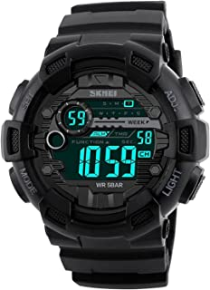 Mens Sport Digital Waterproof Watch Military LED Electronic Casual Watches with Stopwatch Chronograph Alarm Calendar Luminous Army Watch - Black