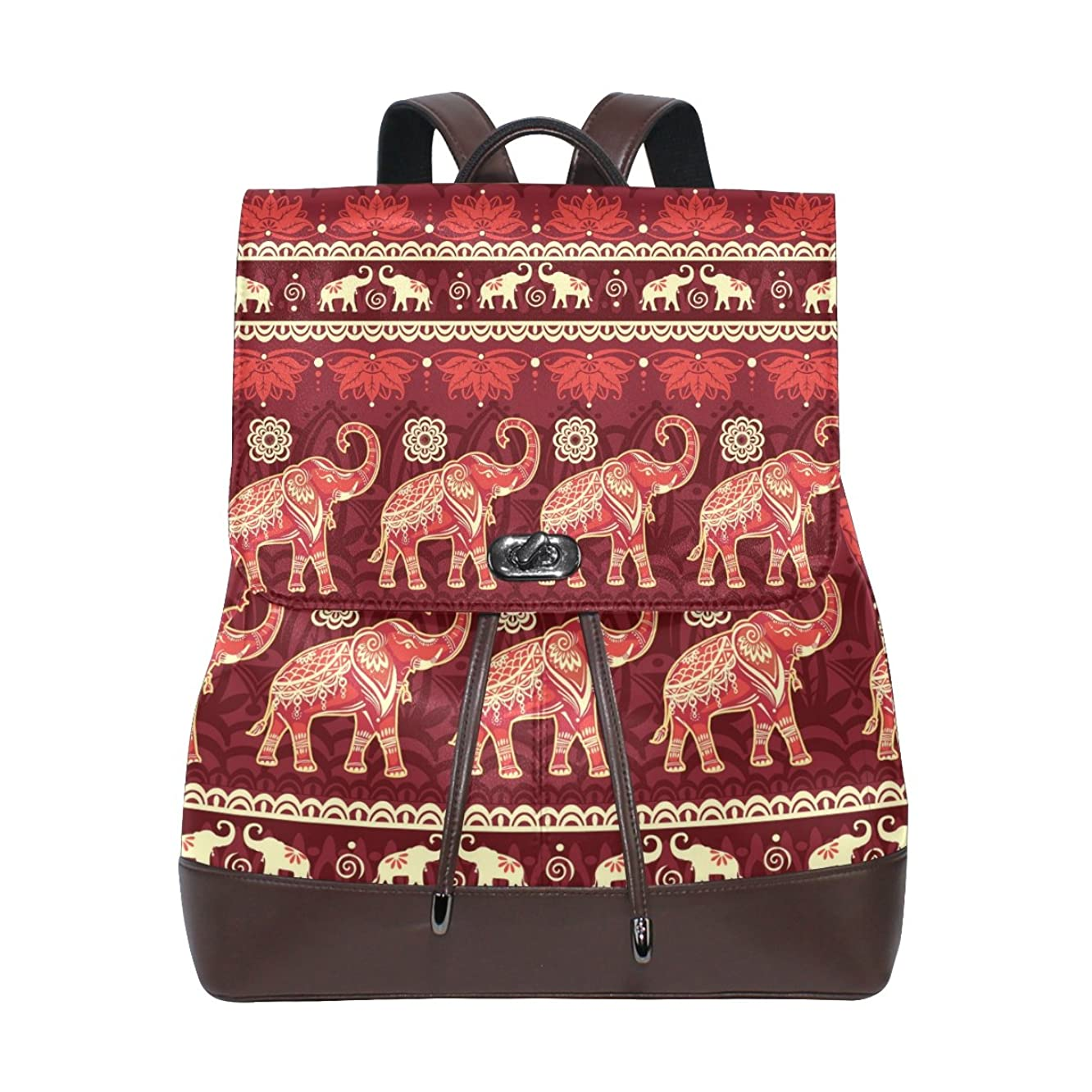KUWT Seamless Pattern India Tribal Elephant PU Leather Backpack Photo Custom Shoulder Bag School College Book Bag Casual Daypacks Diaper Bag for Women and Girl