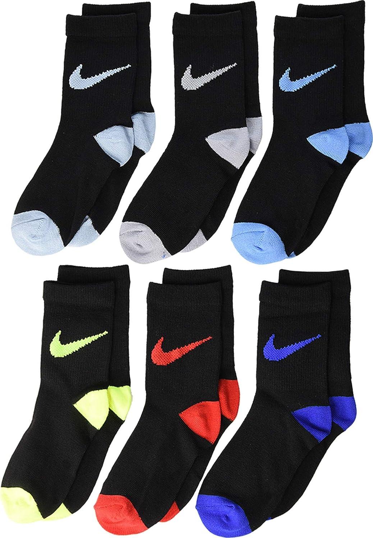 Nike Kids Boy's 6-Pack Pop Color Crew (Toddler/Little Kid) Volt 5-7 (10 Toddler-3 Little Kid)