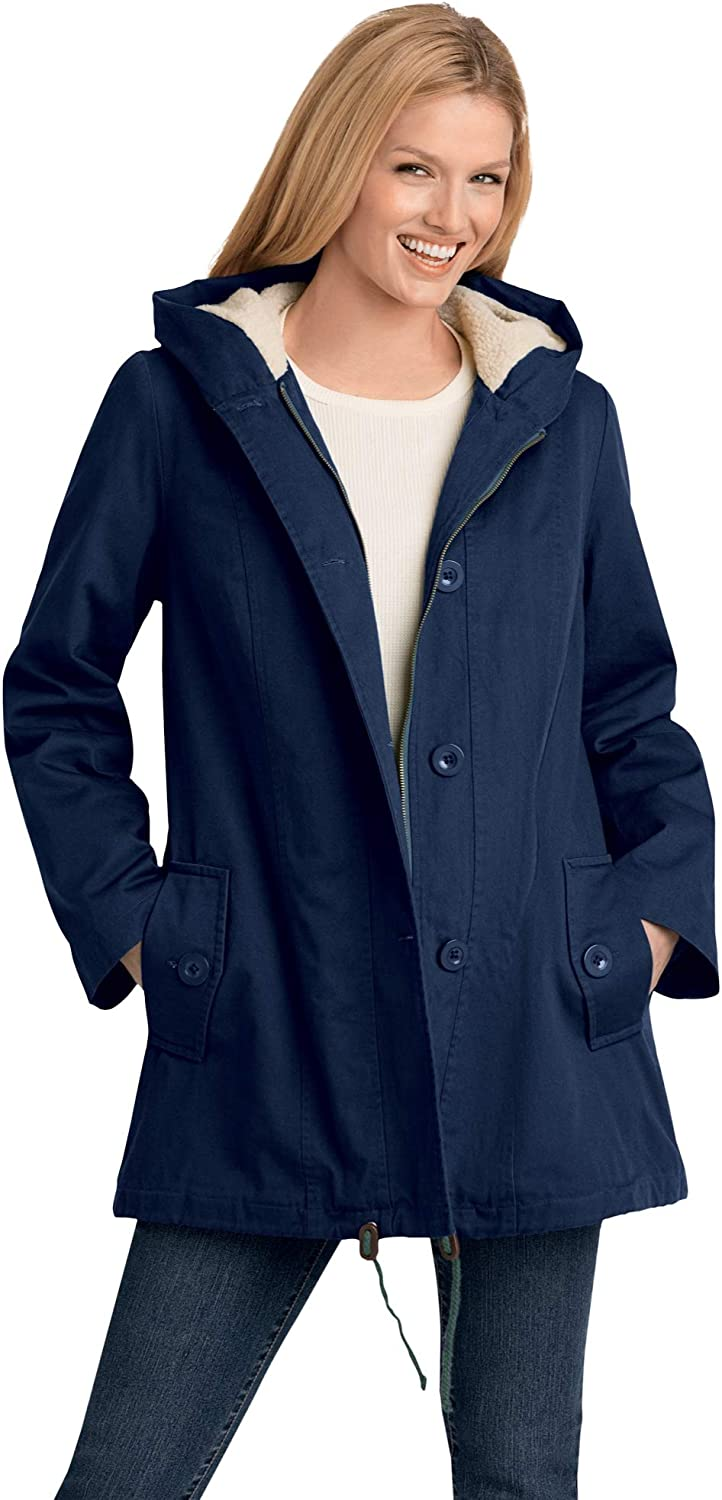 Woman Within Women's Plus Size Sherpa-Lined Hooded Parka Jacket