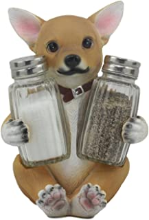 Ebros Picante Teacup Tan Chihuahua Puppy Salt and Pepper Shakers Holder Figurine Set 6.25