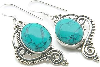 CaratYogi Turquoise v/éritable Boucles doreilles pour Les Femmes Bijoux en Argent Sterling 925 Forme Poire d/écembre Birthstone fabriqu/és /à la Main