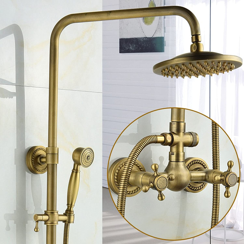 AiRobin-Continental Antique Wall Mounted Bathroom Brass Rain Shower System,C