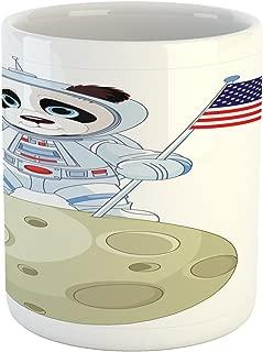 Ambesonne Panda Mug, Panda Astronaut on the Moon Holding USA Flag Moonwalk Imagination Fantasy Picture, Printed Ceramic Coffee Mug Water Tea Drinks Cup, Red Navy White