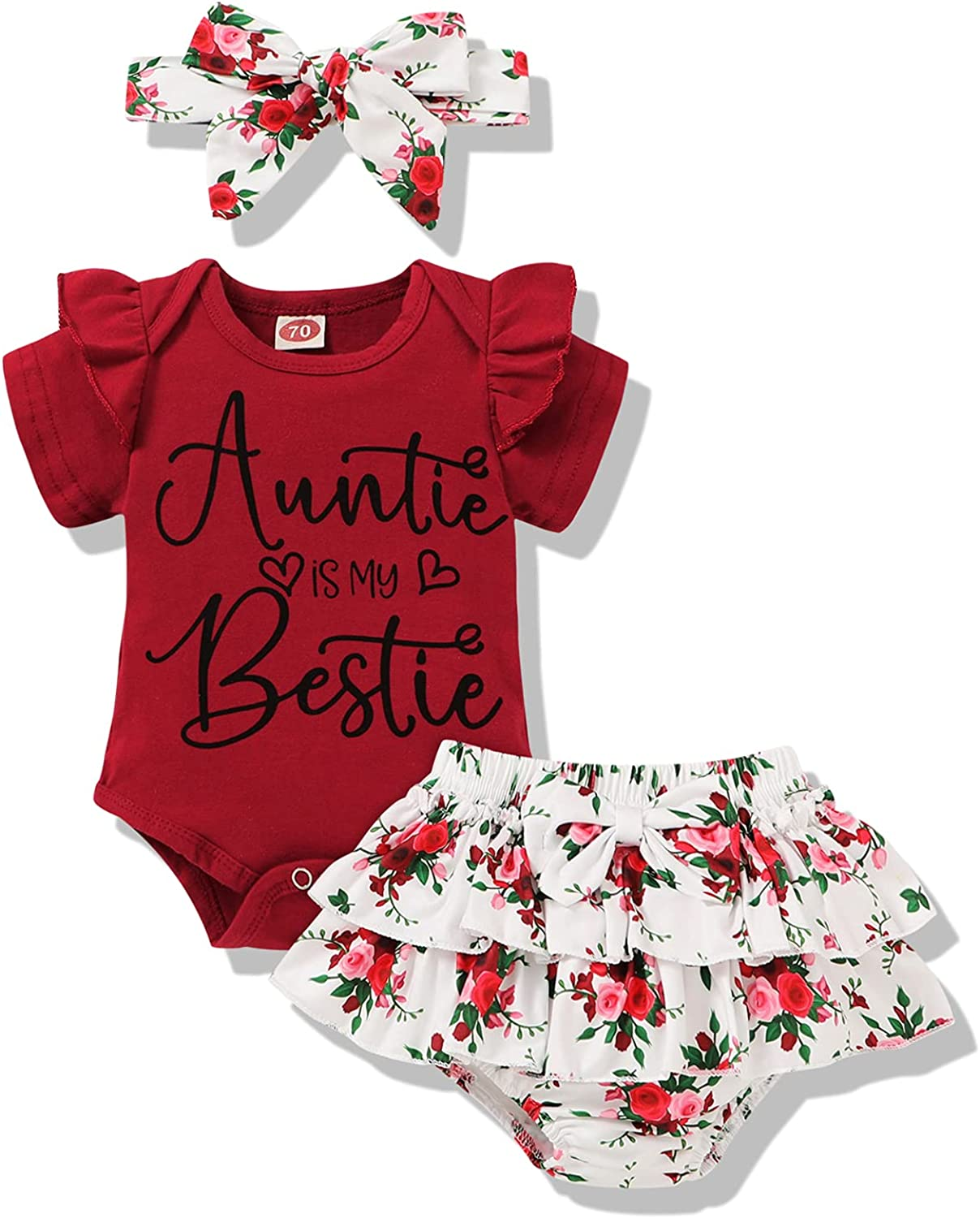 Newborn Baby Girl Auntie Clothes Auntie Is My Bestie Romper Shorts with Headband Girl Auntie Outfits