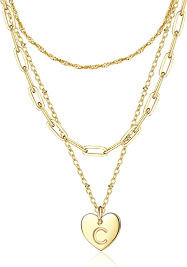 Subiceto 14K Gold Plated Layered Initial Necklaces for Women Paperclip Chain Heart Pendant Letter Necklaces Adjustable Size