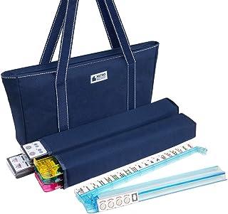 American Mah Jongg Set – 166 Premium White Tiles, 4 All-in-One Rack/Pushers, Blue Canvas Bag