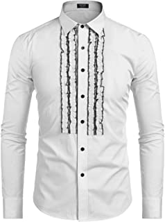 COOFANDY Men's Tuxedo Shirt Slim Fit Ruffle Ruche Frill Dress Shirt Wedding Party Prom Dinner Formal Button Down Shirt