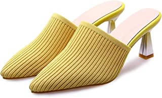 Surprise S Women Mules Shoes High Heels Stretch Kitten Heels Shoes Extreme High Heel Slippers 34 43