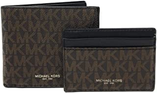 Michael Kors Mens Set Two Piece Leather Billfold Wallet With Card Case (Brown PVC)