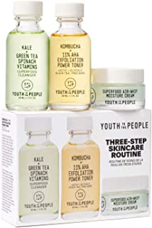 Youth To The People Mini Three Step Skincare Set - Clean Skincare Set - Superfood Cleanser (1oz) + Kombucha + 11% AHA Exfo...