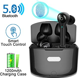 Wireless Earbuds with Crystal-Clear &Deep Bass Stereo Sound, Bluetooth 5.0 Headphones with Smart Touch Control, Noise Cancellation Mic &Portable 1200 mAh Charging Case for iPhone and Android