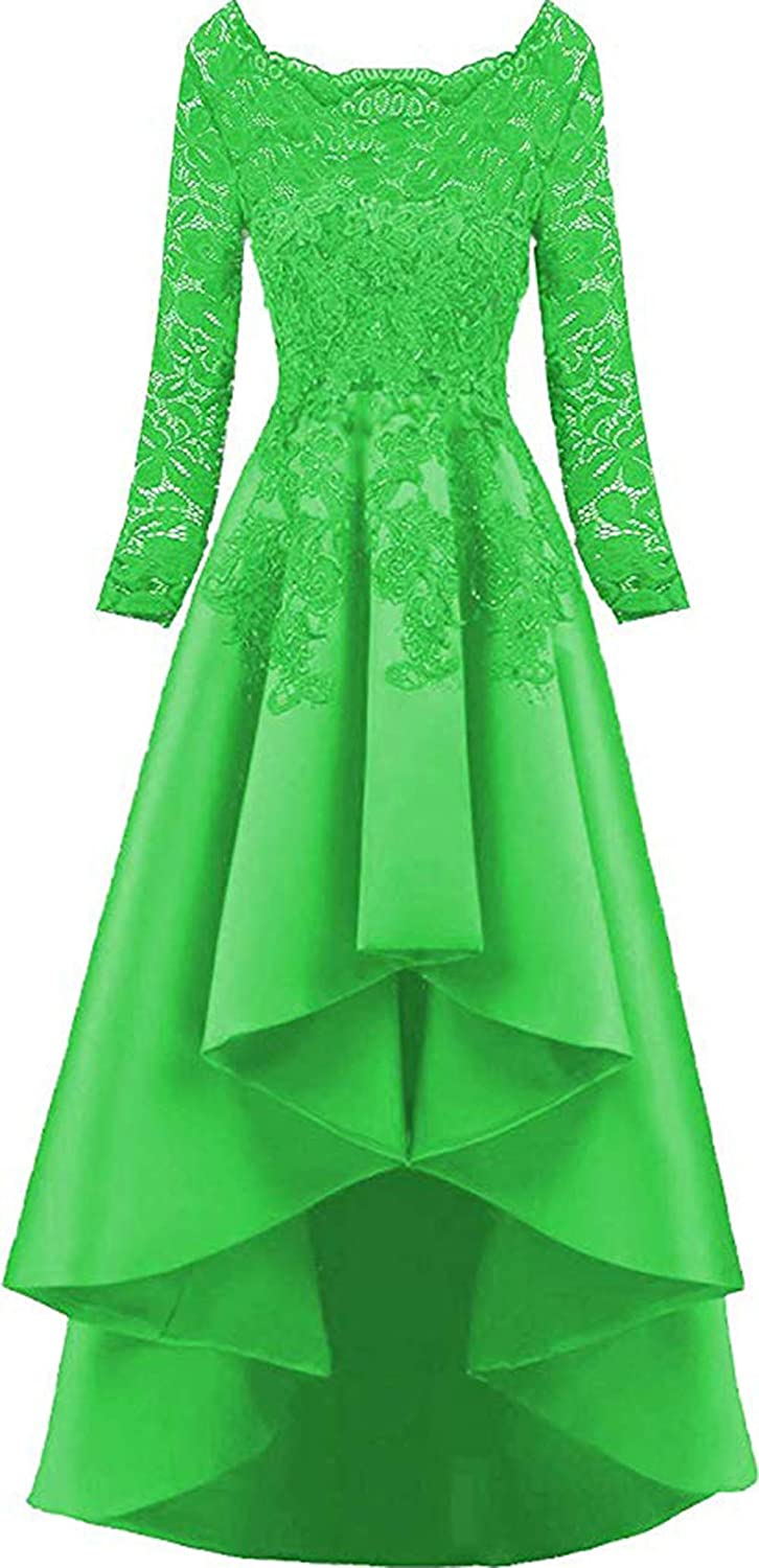 Rmaytiked Womens Long Sleeves Lace Prom Dresses High Low 2019 Beaded Satin Evening Formal Ball Gowns