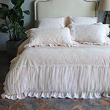 طقم لحاف ذو وجهين أغطية لحاف الأميرة الدانتيل، طقم كتان سرير، أغطية لحاف، ملاءة سرير مزدوجة، كوين كينج، 4 قطع طقم سرير بوج...