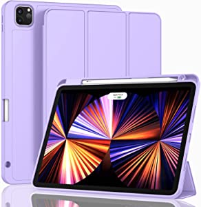 ZryXal New iPad Pro 11 Inch Case 2021(3rd Gen)/2020(2nd Gen) with Pencil Holder,Smart iPad Case [Support Touch ID and Auto Wake/Sleep] with Auto 2nd Gen Pencil Charging (Clove Purple)