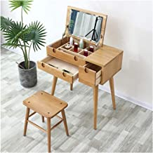 Makeup Dressing Table Simple Vanity Table Set - Solid Wood Dressing Table Furniture Bedroom Folding Mirror with Stool Girl...