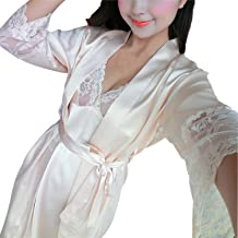Sexy Lingerie Bathrobe Pajamas Women Underwear Lingerie Dress Lace Sheer Long Night Dress Robe,A,XL