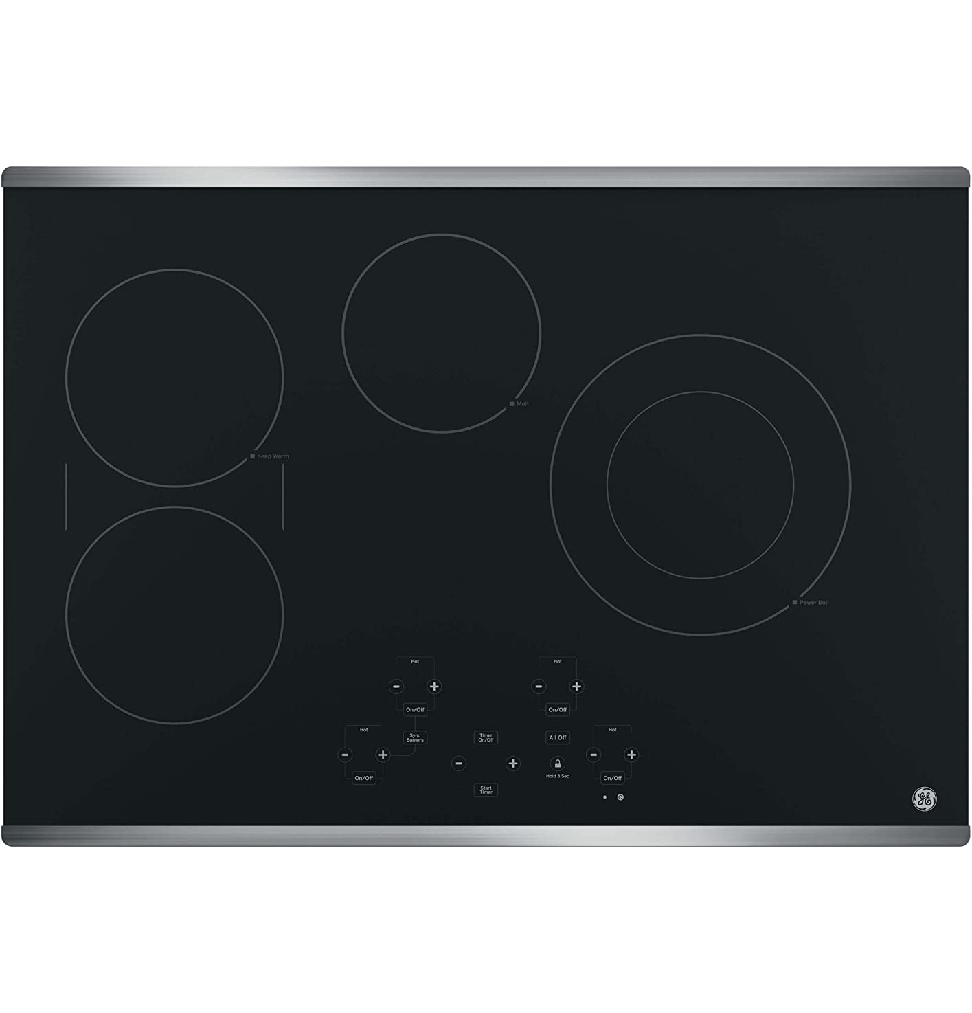 GE JP5030SJSS 30 Inch Smoothtop Electric Cooktop with SyncBurner, Keep Warm, Digital Touch Controls, 4 Radiant Elements, Built-in Timer, Melt Setting, ADA Compliant Fits Guarantee cnqtommauwboi5