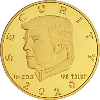 Donald Trump Border Wall Security 2020 Coin - 24K Gold Plated Commemorative Collectors Edition. Stunning Proof Coin in Acrylic Capsule and Velvet Bag. Trump Build The Wall Challenge Coin