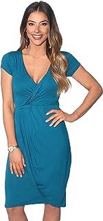 31ffb7f4c65 KRISP Robe Courte Femme Cache-Coeur Mode Chic Col V