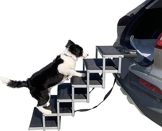 YEP HHO 狗狗台阶 适用于大型犬,轻质铝质可折叠宠物梯坡道,防滑表面,适用于高床、卡车、汽车和 SUV,可承受 150-220 磅