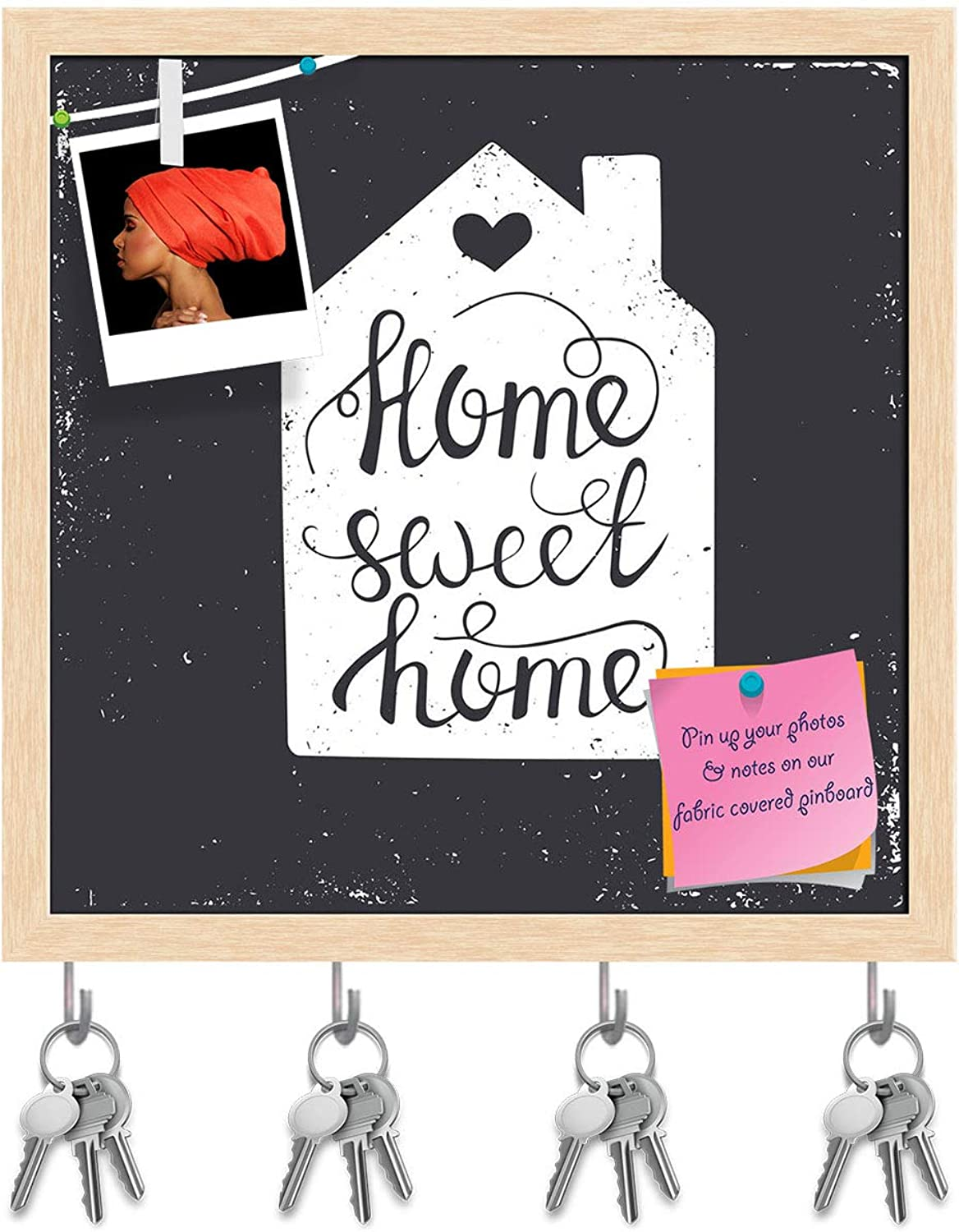 Artzfolio Home Sweet Home D2 Key Holder Hooks   Notice Pin Board   Natural Brown Frame 20 X 20Inch