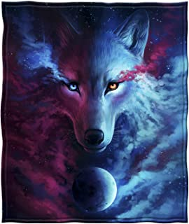 "Dawhud Direct Celestial Wolf Super Soft Full/Queen Size Plush Fleece Blanket, 75"" x 90"""