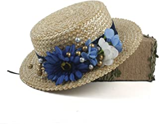 Ruiyue Antique 1910 Edwardian Young Ladies Blue Straw Hat with Flowers