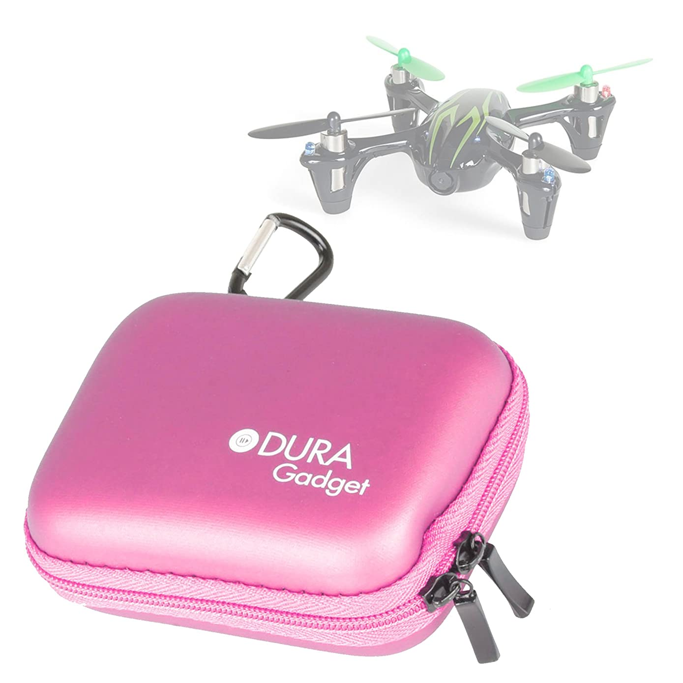 DURAGADGET Premium Quality Pink Hard EVA Shell Case/Box with Carabiner Clip & Twin Zips - Compatible with The Hubsan X4 (H107C) / X4 (H107L) Quadrocopter Drone