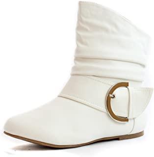 Top Moda Women's Ankle Booties Buckle Buckle Slouch Flat Heel Strap Fashion Shoes