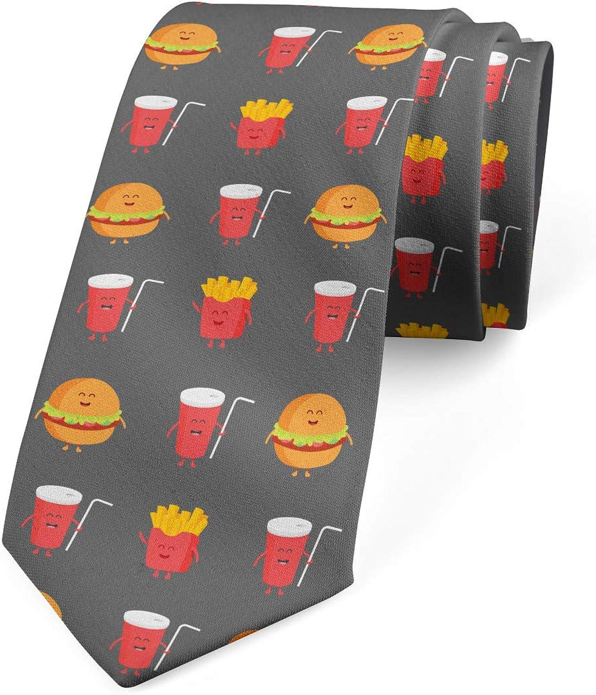 Ambesonne Men's Tie, Smiling Fast Food, Necktie, 3.7