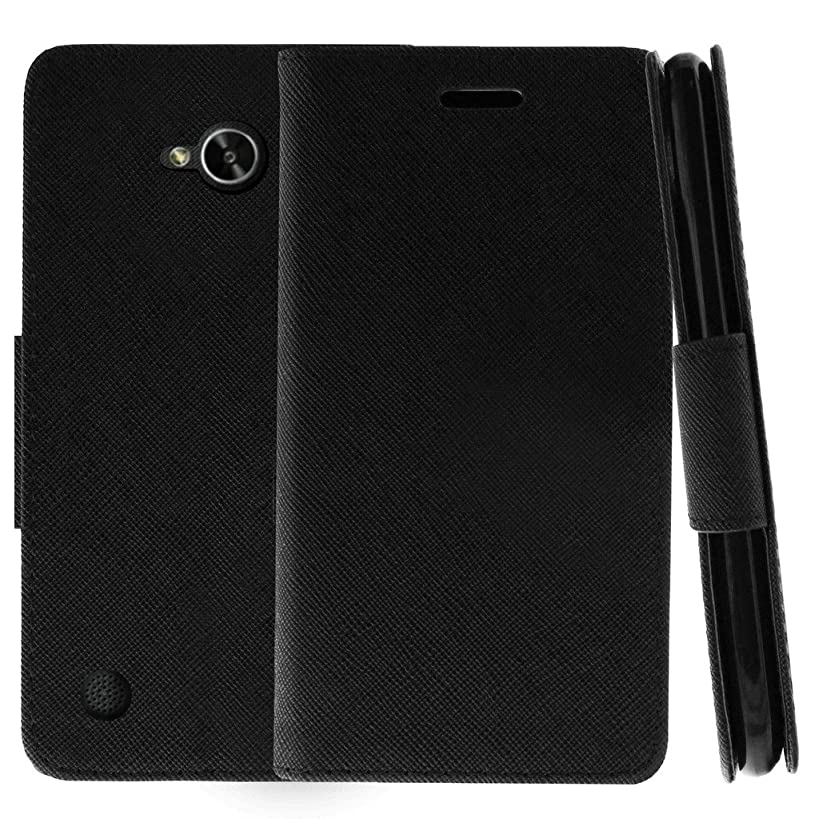 TurtleArmor | Compatible for LG X Power 2 Case | LG Fiesta 2 Case | LG X Charge Case | Kickstand Flip Wallet Case Leather Cover with Card Slots Holder Cool Designs - Black