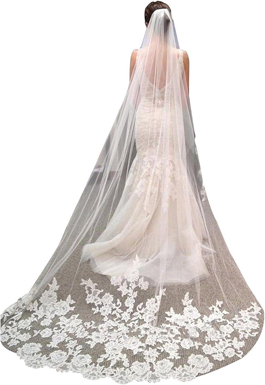 Portsvy Long Wedding Veil Cathedral Length Wedding Veil Bridal Veil with Free Comb