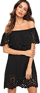 Women's Off Shoulder Ruffle Loose Tunic Shift Dress