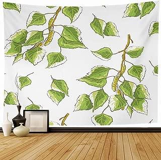 Ahawoso Tapestry Wall Hanging 80x60 Ramus Green Leaf White Birch Leaves Branches Branch Nature Alba Greenery Sapling Betula Design Art Home Decor Tapestries Decorative Bedroom Living Room Dorm