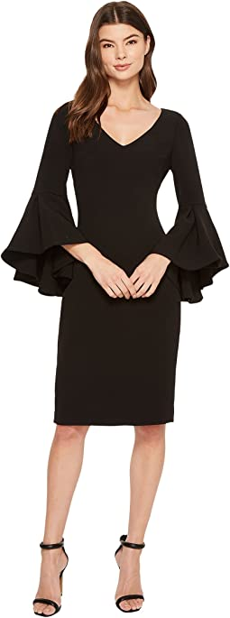 Badgley Mischka - V-Neck Bell Sleeve Dress