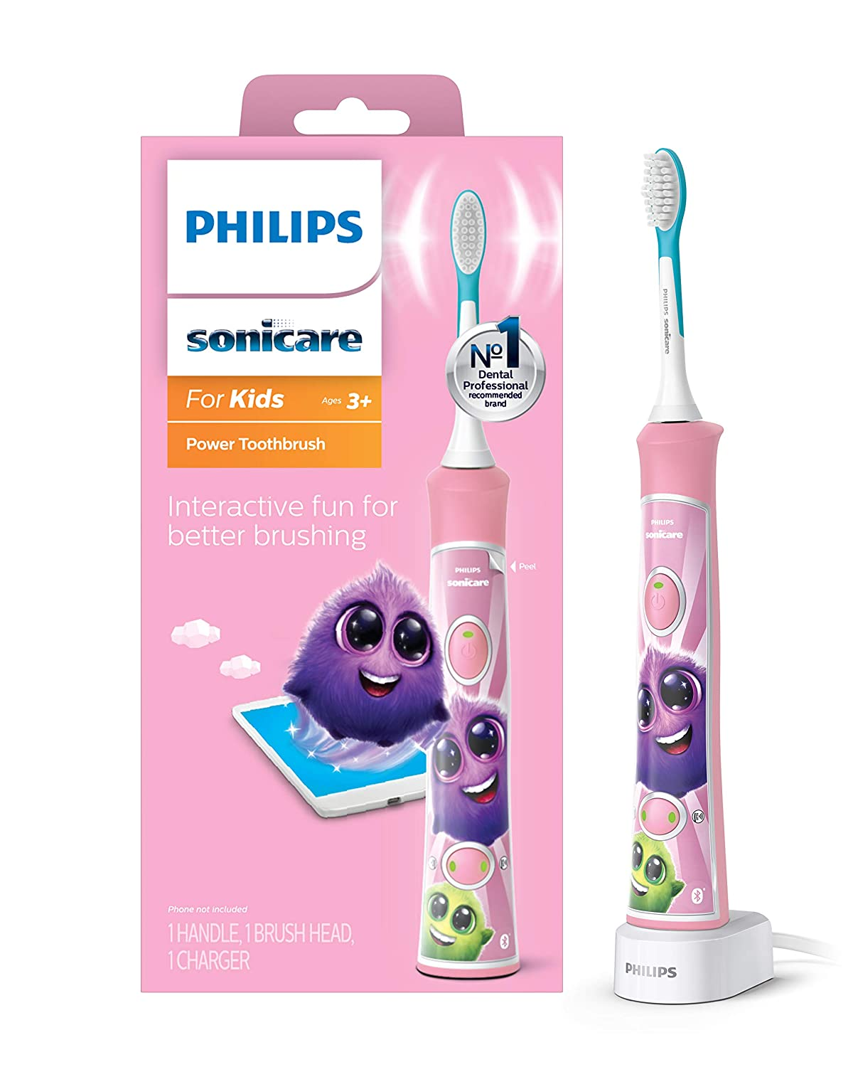 Philips Sonicare, for Kids Bluetooth Connected Rechargeable Electric Toothbrush, Pink,
