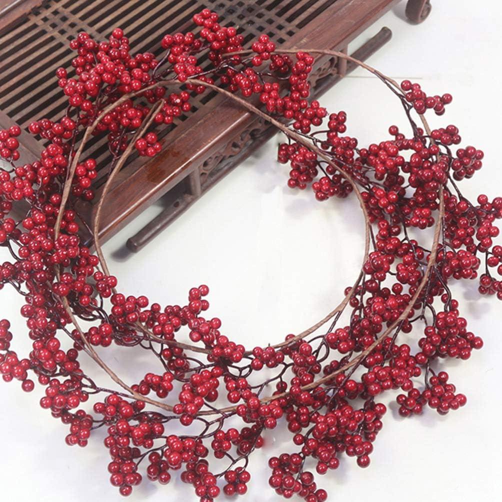 SOIMISS Couronne de baies rouges artificielles couronne de baies rouges couronne de No/ël couronne de lAvent pour No/ël mur ornements de No/ël couronne de No/ël f/ête