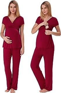 Zexxxy Women Ultra Soft Maternity & Nursing Pajama Set Pregnancy Sleepwear