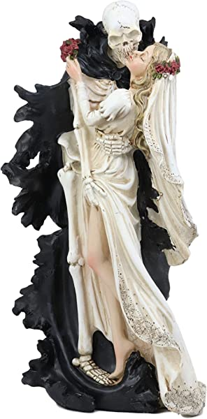 Ebros Wedding Bride And Death Angel Grim Reaper Skeleton The Kiss Figurine 14 25 Tall Love Never Dies Day Of The Dead DOD Skulls Ossuary Macabre Graveyard Spooky Halloween Red Roses Decor Statue