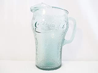 Vintage Coca Cola Coke Pitcher Indiana Glass Green Dimple -2 Qt