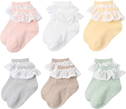 6 Pairs Baby Girls Socks Newborn Ruffle Lace Socks Princess Frilly Knit Cotton Socks with Bows for Infant Toddler Kids