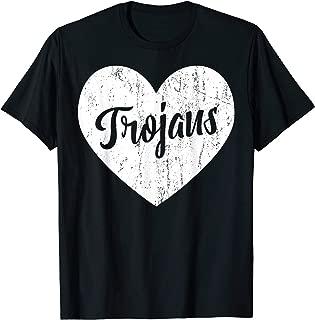 Trojans School Sports Fan Team Spirit Mascot Cute Heart Gift T-Shirt