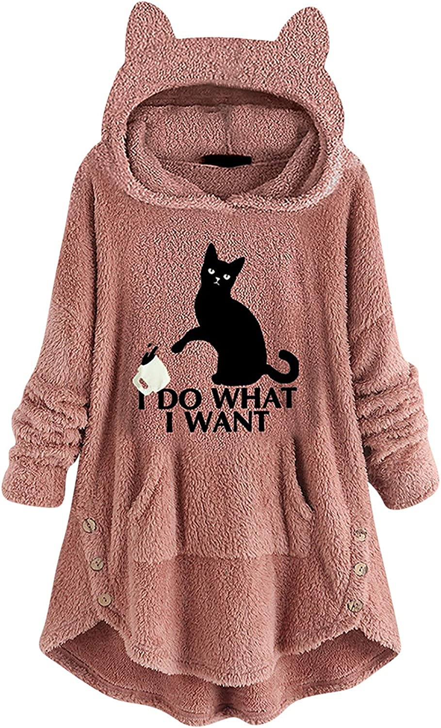 Winter Coats for Women,Fashion Hooded Pocket Plus Size Wool Warm Top Embroidered Print Cat Ear Long Sleeve Ladies Fit Sweater