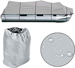 Roadstar 21-24Ft Heavy Duty Boat Cover 600D Oxford Fabric PVC Coating Trailerable Waterproof Trailer Fishing Ski Protector with Carrying Bag 102 Beam Width Gray