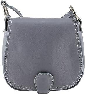 Chicca Tutto Moda CTM Pochette a spalla da donna, borsetta in vera pelle made in Italy - 19x17x6 Cm